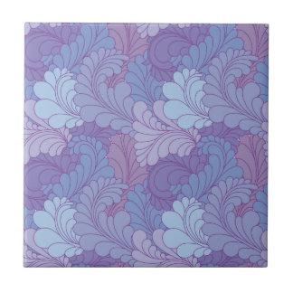 Lavender Purple Retro Floral Paisley Feathers Tile