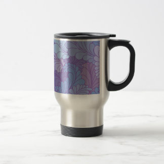 Lavender Purple Retro Floral Paisley Feathers Travel Mug