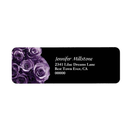 Lavender Purple Rose Bouquet Wedding Return Address Label