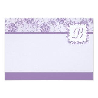 "Lavender Purple Rose Damask Monogram Flat Card 3.5"" X 5"" Invitation Card"