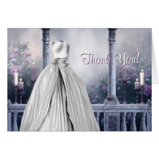 Lavender Purple Rose Quinceanera Thank You Cards