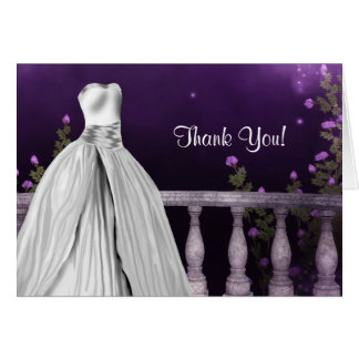 Lavender Purple Roses Quinceanera Thank You Cards