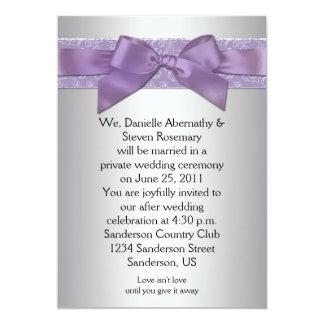 Lavender Purple Silver Brocade Ribbon Post Wedding 13 Cm X 18 Cm Invitation Card