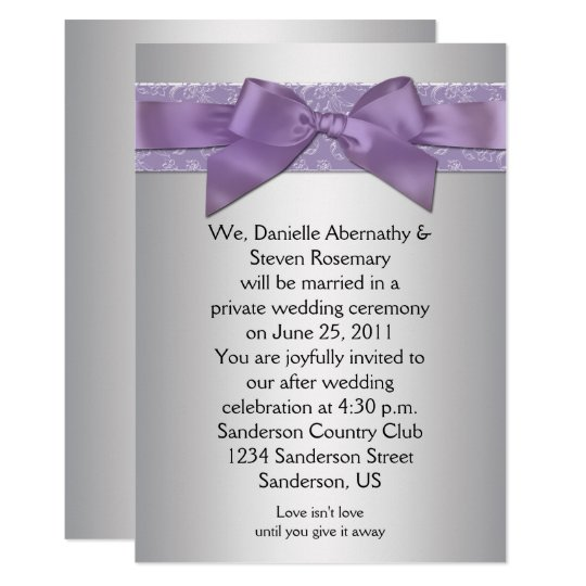 Lavender Purple Silver Brocade Ribbon Post Wedding Card