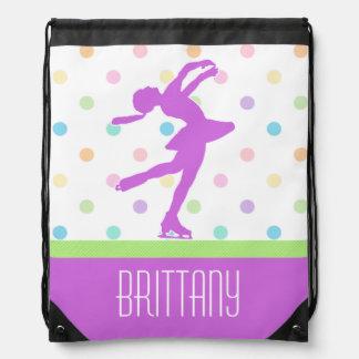 Lavender Purple Skater Bright Pastel Polka-Dots Drawstring Backpacks