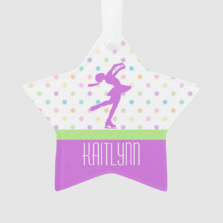 Lavender Purple Skater Bright Pastel Polka-Dots Ornament