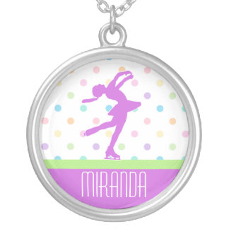 Lavender Purple Skater Bright Pastel Polka-Dots Silver Plated Necklace