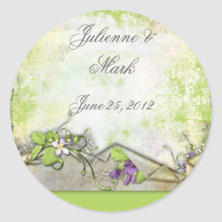 Lavender Purple Sweet Peas Save the Date Sticker