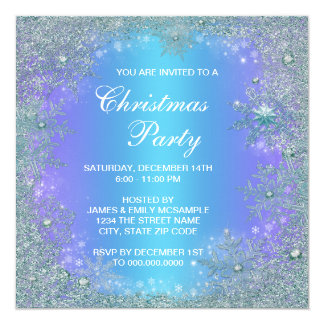 Lavender Purple Teal Blue Snowflake Christmas 13 Cm X 13 Cm Square Invitation Card