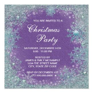 Lavender Purple Teal Blue Snowflake Christmas 13 Cm X 13 Cm Square Invitation Card