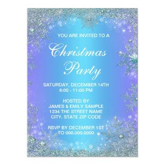 Lavender Purple Teal Blue Snowflake Christmas 17 Cm X 22 Cm Invitation Card