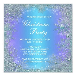 Lavender Purple Teal Blue Snowflake Christmas Card