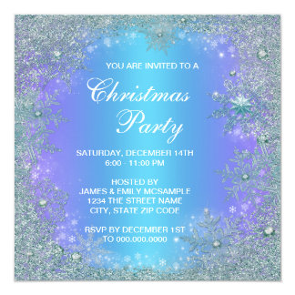Lavender Purple Teal Blue Snowflake Christmas Personalized Invitation