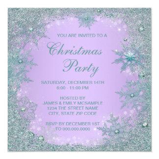 Lavender Purple Teal Blue Snowflake Christmas 5.25x5.25 Square Paper Invitation Card
