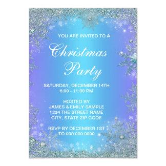 Lavender Purple Teal Blue Snowflake Christmas 4.5x6.25 Paper Invitation Card