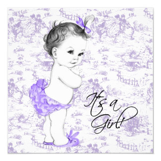 Lavender Purple Toile Baby Girl Shower Custom Invitation Card