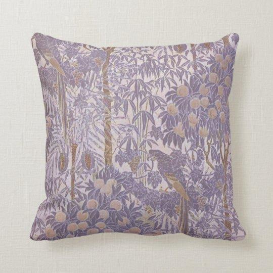 Lavender Purple Vintage Tropical Parrot Pattern Cushion