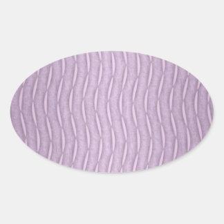 Lavender Purple Wavy Modern Stripes Oval Stickers