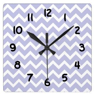 Lavender purple white Chevron Clock