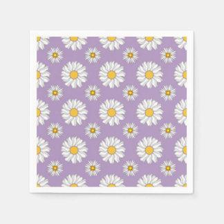 Lavender Purple White Daisy Floral Wedding Paper Napkin