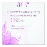 Lavender Purple & White Floral Wedding Design RSVP 13 Cm X 13 Cm Square Invitation Card