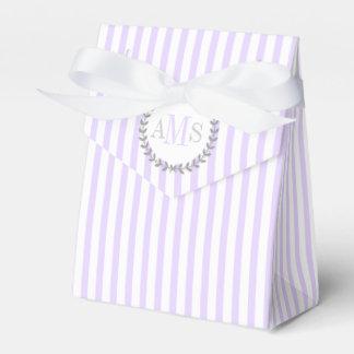 Lavender purple, white stripes monogram wedding favour box