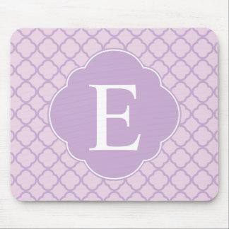 Lavender Quatrefoil Custom Monogram Mouse Mat