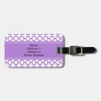 Lavender Quatrefoil Pattern Luggage Tag