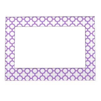 Lavender Quatrefoil Pattern Magnetic Picture Frame