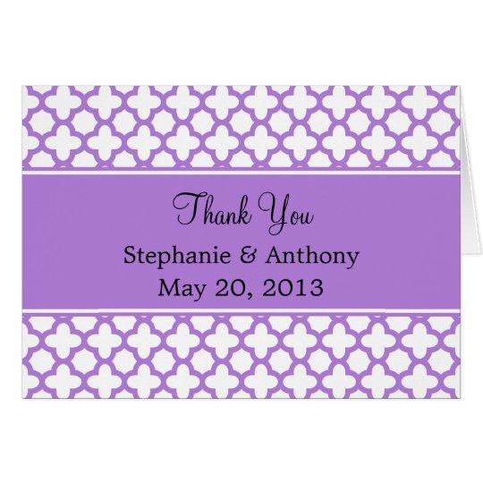 Lavender Quatrefoil Pattern Thank You Card