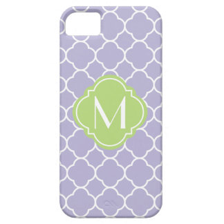 Lavender Quatrefoil Pattern with Monogram iPhone 5 Case