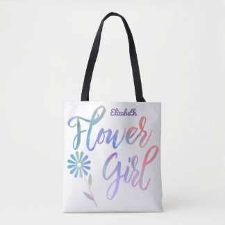 Lavender Rainbow Flower Girl with Name Tote Bag