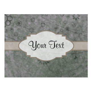 Lavender Retro Floral Abstract Nameplate Postcard