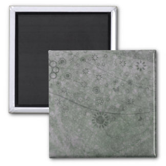 Lavender Retro Flowers and Butterflies Abstract Square Magnet