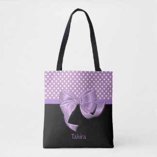Lavender Ribbon and Polka Dots Tote Bag
