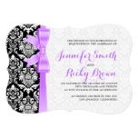 Lavender Ribbon Black And White Damasks 13 Cm X 18 Cm Invitation Card