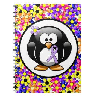 Lavender Ribbon Penguin Spiral Note Book
