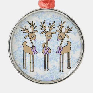 Lavender Ribbon Reindeer - General Cancer Christmas Ornament