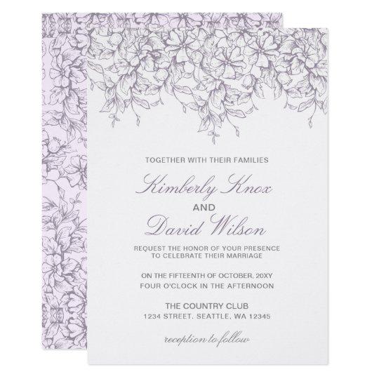 Lavender Romance Floral wedding invitations