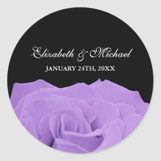 Lavender Rose and Black Wedding Favor Label Round Sticker