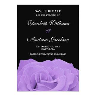 Lavender Rose and Black Wedding Save the Date 13 Cm X 18 Cm Invitation Card