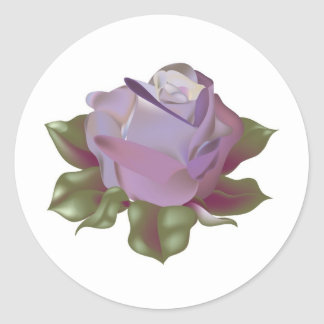 Lavender Rose Bud with Leaves Round Sticker