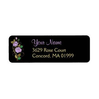 Lavender Rose Gold Black Address Label