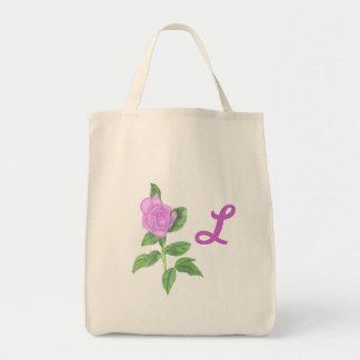 Lavender Rose Painting, Monogram Tote Bags