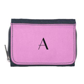 Lavender Rose Pink Denim Wallet w/Black Monogram