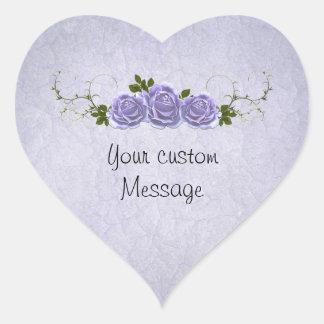 Lavender Roses Customizable Heart Sticker