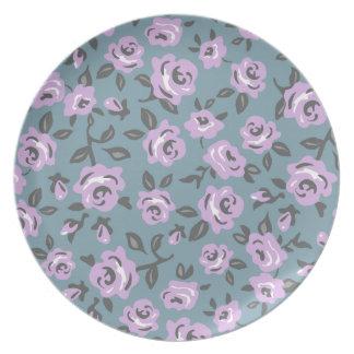 lavender roses melamine plate