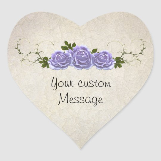 Lavender Roses on Ivory Customisable Heart Sticker