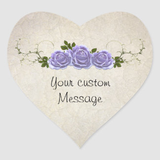 Lavender Roses on Ivory Customizable Heart Sticker