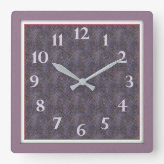 Lavender Rust Blue Framed Abstract Square Wall Clock
